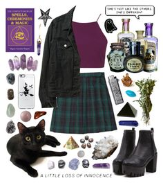 """Modern witch girl"" by pastelprincess152 ❤ liked on Polyvore featuring Topshop, American Apparel, Mapleton Drive, Loquet, NOVICA and modern"