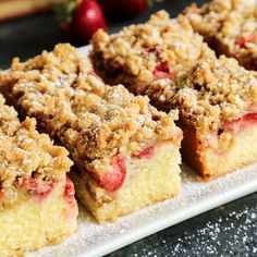 Strawberry Rhubarb Crumb Bars are the perfect spring dessert, where buttery-tender cake meets sweet strawberries and tart rhubarb.