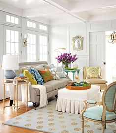 white, robin's egg and splashes of color. This is what I need for my front piano room.