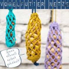 Vogelfutter Netze If you're searching to acquire a six to eight group, changing your dishes Crochet Birds, Cute Crochet, Owl Basket, Creative Knitting, Up Halloween, Textiles, Craft Fairs, Bird Feeders, Crochet Patterns