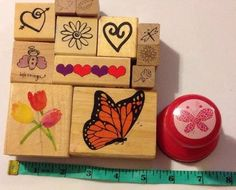 Spring Rubber Stamp Lot Monarch Butterfly Tulip Heart Flowers Butterflies Lot 13 in Crafts, Stamping & Embossing, Stamp Collections & Mixed Lots | eBay