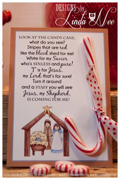 Legend of the Candy Cane - Printable 5 x 7 cards with poem that you can give away as gifts. They are also perfect for witnessing at Christmas