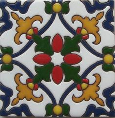 High relief Malibu Tile Classic Handmade Tiles, crafted by masterful Mexican artisans, skillfully hand painted, full of color. Combine colors and patterns to create your individual design and atmosphere with vibrant designs in creative ceramic tiles Tile Art, Mosaic Tiles, Tiling, Wall Tile, Mexican Tile Kitchen, Mexican Ceramics, Tuile, Mexican Art, Mexican Style