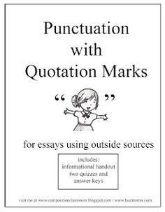Punctuation with Quotation Marks Freebie as seen on Middle School Maestros  www.middleschoolmaestros.com