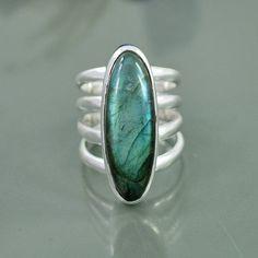 Natural Labradorite Gemstone Ring 925 Sterling by Silvergem2014