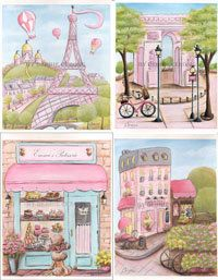 Paris Art Prints, great girl's baby shower gift idea! Personalized Paris art prints feature the Eiffel Tower, French cafes, boulangeries, patisseries, Arch de Triomphe. Prints can be purchased separately or as a set. The 'Patisserie Print' can be personalized with girl's name!