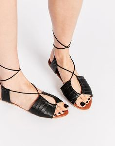 ASOS FLYING HOME Leather Lace Up Flat Sandals