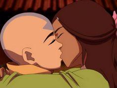 Aang and Katara kissing Katang #Avatarlastairbender