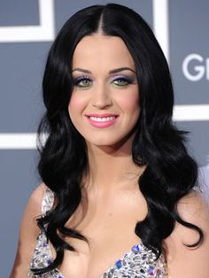 Katy Perry's black wavy hair...love!