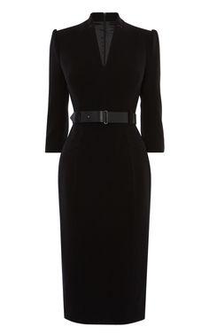 Karen Millen Black V-Neck Sleeve Midi Pencil Bodycon Forever Dress UK 12 Pretty Black Dresses, Black Dress Outfits, Elegant Dresses, Dress Black, Black Office Dress, Black Work Dresses, Karen Millen, Classy Dress, Classy Outfits