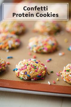 These Confetti Protein Cookies are a celebration in your mouth thanks to the colorful rainbow sprinkles and soft cake centers. Serve up a plate of this festive dessert recipe at your next party!