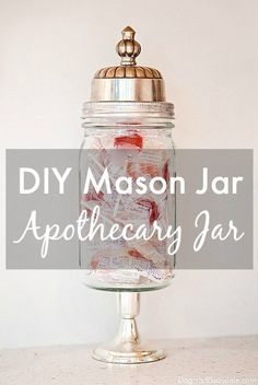 Mason Jar Apothecary Jar – Easy DIY Project You Can Make Today - Herzlich willkommen Mason Jar Diy, Mason Jar Crafts, Pots, Apothecary Jars, Do It Yourself Home, Cool Diy Projects, Upcycling Projects, Diy Gifts, Diy Home Decor