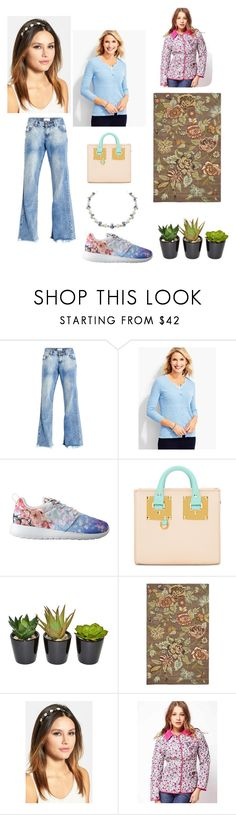 """""""The """"me"""" challenge: #4: Favourite colour: Blossom blue!"""" by sarah-m-smith ❤ liked on Polyvore featuring OneTeaspoon, Talbots, NIKE, Sophie Hulme, The French Bee, Safavieh and L. Erickson"""