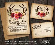 Rustic Wedding Invitation SET | Deer Antler Horns Burlap | Printed Invite Printable Digital File DIY | Floral Woodland Boho Fall Marsala