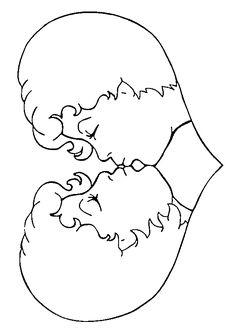 Dessin de deux têtes d'un couple d'amoureux se donnant un baiser et formant un coeur, belle illustration à colorier