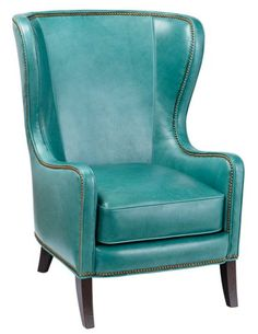 Dempsey Wingback Chair, Aqua Leather - Accent Chairs - Living Room - Furniture   One Kings Lane