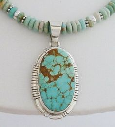 Navajo Sterling Silver Boulder Turquoise Pendant Beaded Necklace Spencer