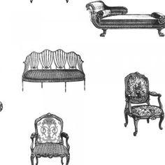 Love this wallpaper Wallpaper Uk, Designer Wallpaper, Pattern Wallpaper, Wallpaper Ideas, Stunning Wallpapers, Buy Chair, Vintage Chairs, Shades Of Black, Vintage Designs