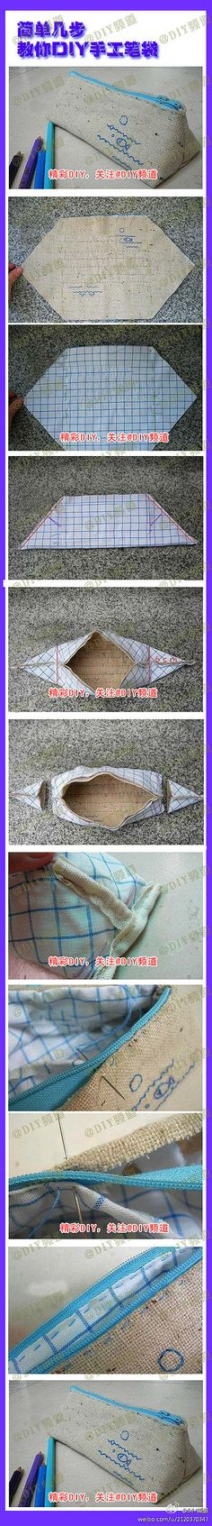 DIY pencil case or makeup bag. Sewing Hacks, Sewing Tutorials, Sewing Patterns, Tutorial Sewing, Fabric Crafts, Sewing Crafts, Sewing Projects, Tape Crafts, Pencil Bags