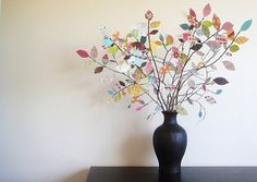 Scrap Paper Tree Centerpiece {Centerpiece Ideas} This simple project uses scrapbook paper leaves to create a bright and cheery Spring ambiance for your home… Cute Crafts, Crafts To Do, Diy Crafts, Rustic Crafts, Paper Leaves, Paper Flowers, Paper Trees, Real Flowers, Fabric Flowers