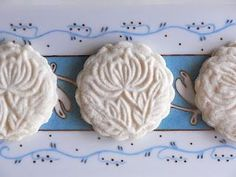 """Kurdish Rice Flour Cookies. Dough must be refrigerated overnight but short list of ingredients. Need something called a """"mooncake mold"""" to shape them."""