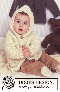 BabyDROPS 11-27 - Knitted DROPS jacket with hood in Eskimo - Free pattern by DROPS Design