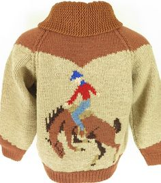 Vtg 70s Handmade Cowichan Cowboy Style Zip Wool Sweater Mens L #AnnSinner