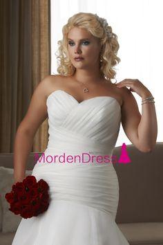 2016 Mermaid Sweetheart Plus Size Wedding Dresses Pleated Bodice Organza