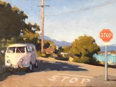Timothy Horn, Sausalito bus with a view, 9x12