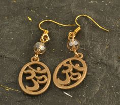 OM Aum Oval Earrings Round SWAROVSKI Crystal Gold by ChezChani