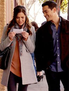Dallas put Rebecca (Julie Gonzalo) in a gray Banana Republic coat,