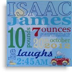 Baby Name canvas - blues