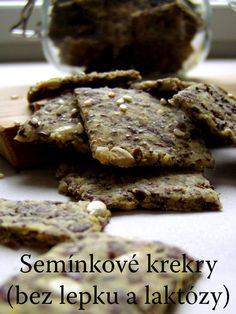 TynaTyna: Semínkové krekry (bez lepku a laktózy) Cereal, Paleo, Health Fitness, Low Carb, Gluten Free, Healthy Recipes, Vegan, Cookies, Chocolate