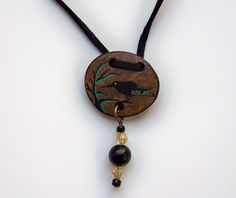 Crow Totem Gourd Pendant Jewelry by John and Jeanne Fry