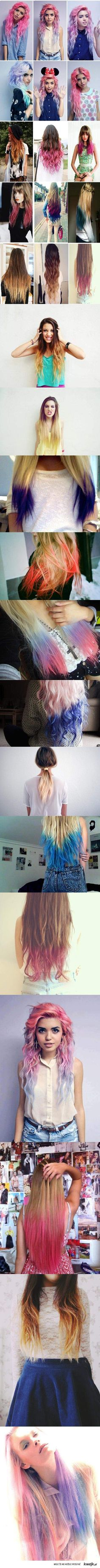 colorful ombre hair :) I would dye my hair almost all of these. The top ones are my fave Ombré Hair, Dye My Hair, Hair Dos, Love Hair, Gorgeous Hair, Coloured Hair, Pastel Hair, Pink Hair, Rainbow Hair