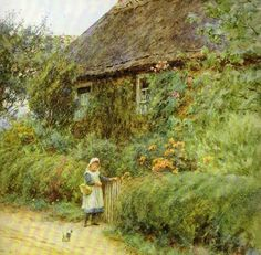 Helen Allingham (de soltera, Helen Mary Elizabeth Paterson) (Inglaterra, 1848-1926). At the Garden Gate.