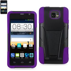 Reiko Silicon Case+Protector Cover For ZTE Sonata 2 LG Lamcet-LG Vw820. New Type Kickstand Purple Black