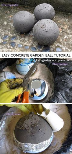 How To Make Hypertufa-Concrete* Balls DIY Garden Decor and Art Idea — Easy concrete ball tutorial by FaireGarden (photo collage Cement Art, Concrete Crafts, Concrete Art, Concrete Garden, Diy Garden Projects, Garden Crafts, Diy Garden Decor, Garden Ideas, Outdoor Garden Decor
