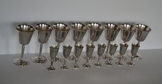Elegant Set of Eight Silver Plated Wine Goblets and Eight Matching Silver Plated Cordial Glasses by Pilgrim Silverplate by RockyandPablo on Etsy