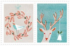 'Christmas Stamps' by Masako Kubo    http://www.masakokubo.co.uk/illustration/images/#