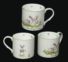 Ceramic bunny mugs by Two Bad Mice
