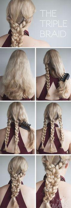 peinado para cabello largo con triple trenza