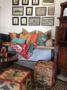 Once Upon A Tea Time.... Design Stories: Chai Studio  Some Newness...The Greek Key Rug-Kilim Poufs...artfully combined with treasures from the past...