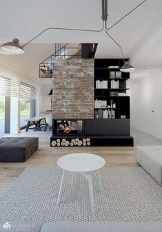 nowoczesna stodoła - Średni salon z jadalnią z tarasem / balkonem, styl skandynawski - zdjęcie od kkarchitekci