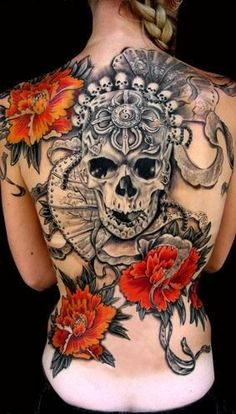 Black Grey Skull With Red Flowers Tattoo On Whole Back ~ Skull Tattoo Ideas