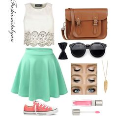 Pastel petunia  follow me on polyvore for more!  Cute outfits•pastel•mint skirt• clothes•fashion•teen•summer•