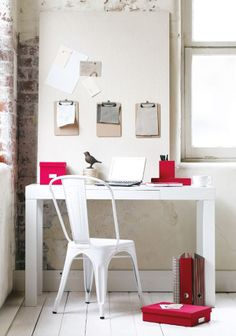 home office ideas red and white