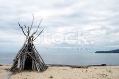 Driftwood Cairn, Abel Tasman National Park, NZ royalty-free stock photo