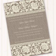 Elegant invitation, retirement party invitation, bridal shower, wedding announcement. $20.00, via Etsy.