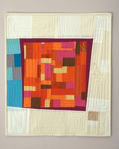"Such nice composition, great colors, fabulous piece work.  (""Art Quilt by Jennie/Tangerine & Turquoise"")"